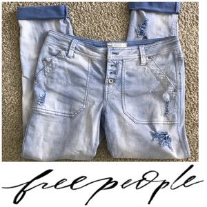 Free People distressed button fly jeans 2